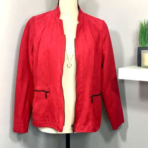 Studio Works Petite Red Zip Velvet Jacket Sz 6P